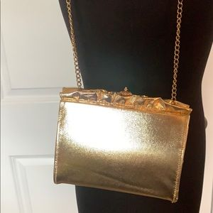 Gold purse with chain
